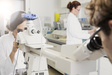 Wissenschaftler arbeiten im Labor, Mikroskop