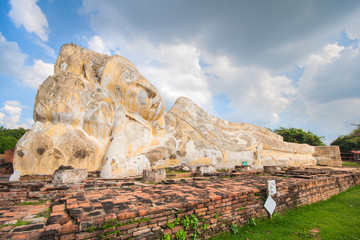 Big sleeping buddha at wat Lokaya Suttharam in Ayuthaya.