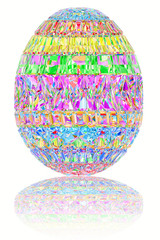 Easter egg composed of colorful gemstones on glossy white