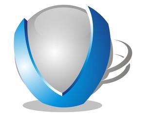 abstract 3D v sphere logo