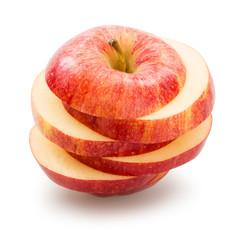Sliced apple over white background