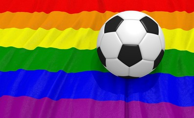 3d illustration of a soccer ball on the gay flag
