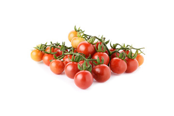 fresh cherry tomatoes with stem isolated on white background