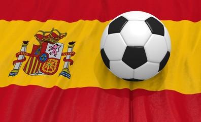 3d illustration of a soccer ball on the flag of Spain