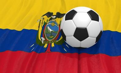 3d illustration of a soccer ball on the flag of Ecuador