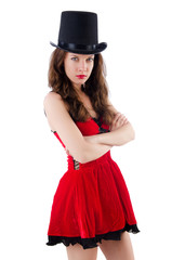 Female model posing in red mini dress isolated on white