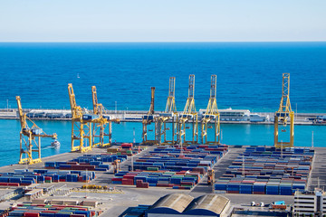View of the Barcelona harbour with the blue Mediterranean Sea