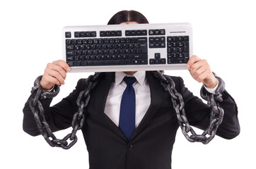 Businessman with keyboard isolated on white