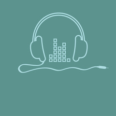Headphones with cord and equalizer Music  Outline icon Flat