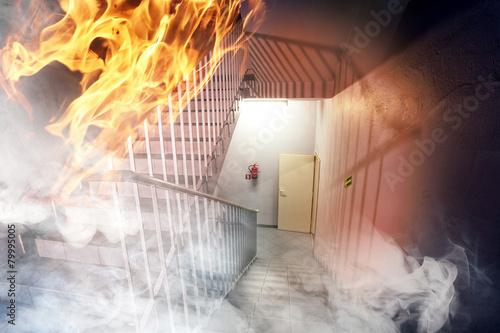 Fotobehang Stad gebouw Fire in the building - emergency exit