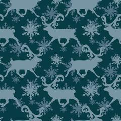 Scandinavian Christmas  seamless Pattern with deers