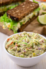 Healthy homemade guacamole, avocado  dip