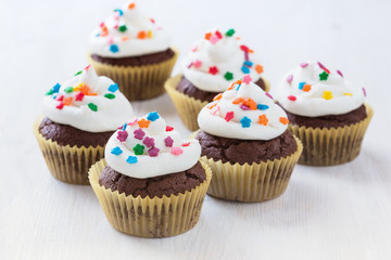Chocolate cupcakes  with  white icing