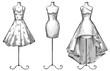 Set of mannequins. dresses. Fashion illustration. - 79996474