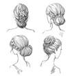 set of hairstyles. Bridal hairdo. Hand drawn - 79996484