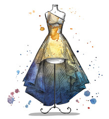 Mannequin in a long dress. Fashion illustration.
