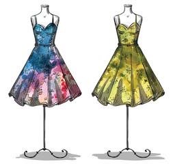 Dummies with dresses. Fashion illustration