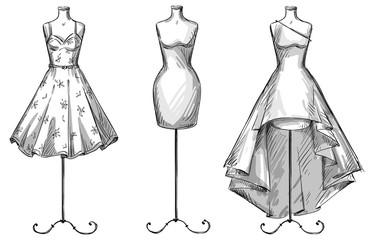 Set of mannequins. dresses. Fashion illustration.