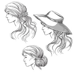 Girl with different hairstyles. Profile view. girl in a hat