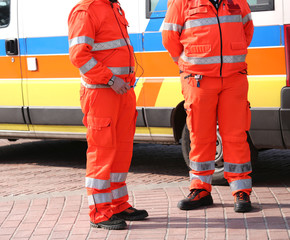 Orange uniforms of the paramedics for emergency rescue