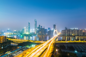 night view of guangzhou pearl river new town skyline
