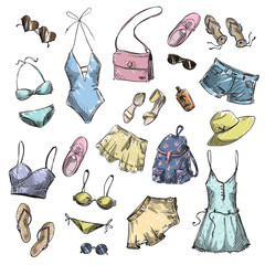 collection of summer clothing and accessories