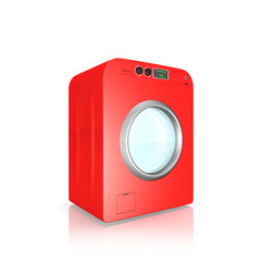 red  washing machine on a white background