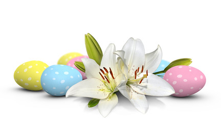 Easter lilies and pastel eggs painted with spots