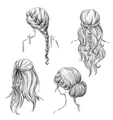 set of different hairstyles. Hand drawn. Black and white
