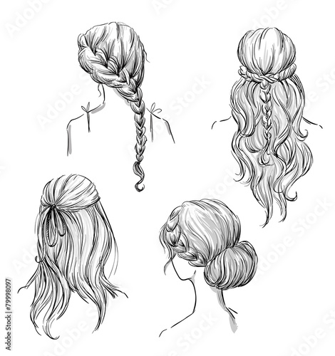 set of different hairstyles. Hand drawn. Black and white - 79998097