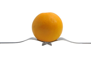 fresh orange with the fork on white background