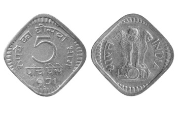 The Indian coin on a white background