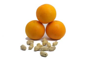 oranges, beans on white background