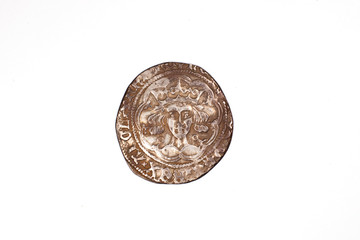 Vintage silver  coin with portrait on a white background
