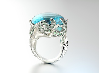 Engagement  Ring with aquamarine or topaz. Jewelry background