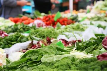 Swiss chard Beta vulgaris on an outdoor farmers market