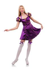 Pretty woman in purple suede dress