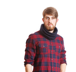 Portrait of handsome bearded young man isolated on a white