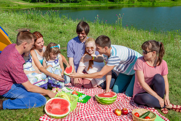 outdoor group portrait of happy family having picnic near the la
