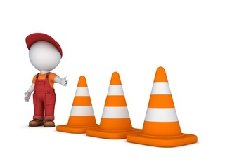 3d small person and traffic cones.
