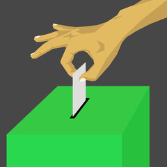 Voting at the green ballot box