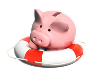 Piggy bank and lifebuoy