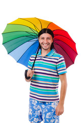 Positive man with colorful umbrella isolated on white