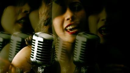 Music woman microphone blurry