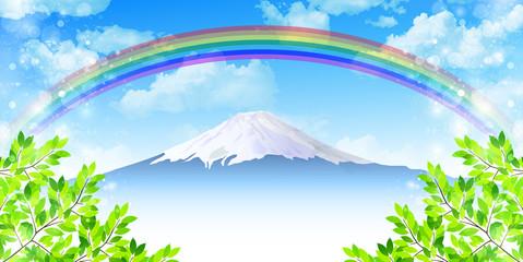 富士山 新緑 背景