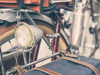 Vintage Hipster bicycle Light accessories close up