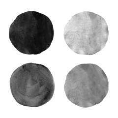 Beautiful grey watercolor design elements.