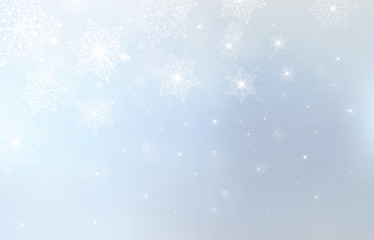Vector blue background with snowflakes, stars and lights.
