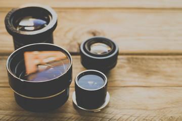 Lenses old, vintage processing. Copy space