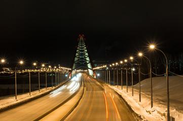Third bugrinskij bridge over the Ob river at night. This bridge